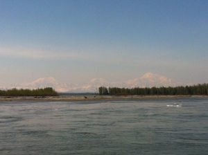 This photo was taken from the beach in Talkeetna. You can see Denali in the background.
