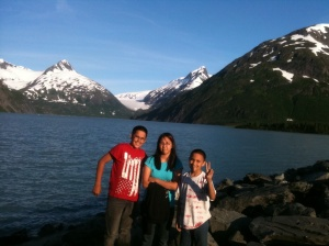 My 3 kids at Portage Lake. You can see the glacier in the background. When I was a child, the glacier was in the lake near the bank. (photo 2012)