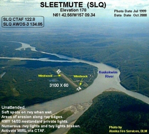 Sleetmute, Alaska. You can see at the top of the picture that the Holitna River flows into the Kuskokwim, which comes from the left-top side.
